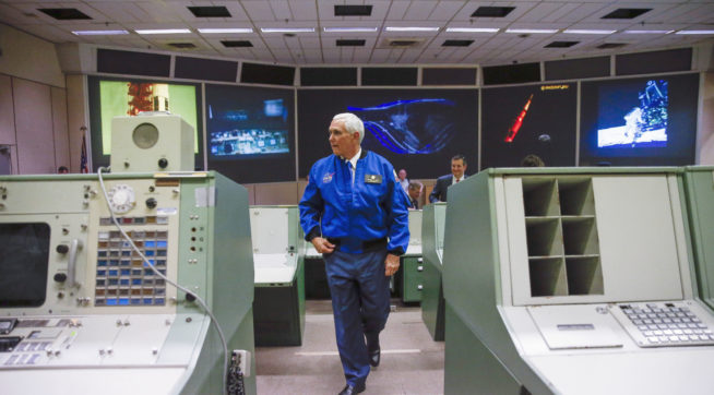 United States Vice President Mike Pence gets a tour of historic mission control after welcoming in a new class of astronauts at the Johnson Space Center Wednesday, June 7, 2017 in Houston. (Michael Ciaglo/ Houston Chronicle via AP)
