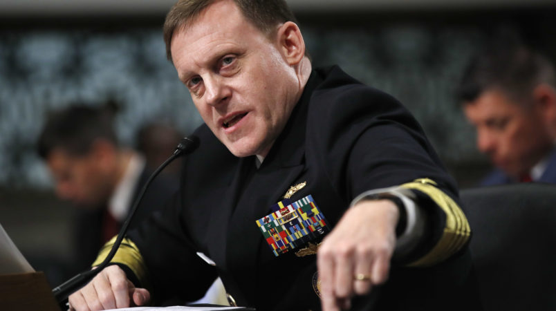 Adm. Mike Rogers, head of the U.S. Cyber Command and the National Security Agency, speaks to the Senate Armed Services Committee, Tuesday, May 9, 2017,  on Capitol Hill in Washington. Rogers says the U.S. is working with France and Germany to counter disinformation campaigns during elections. (AP Photo/Jacquelyn Martin)