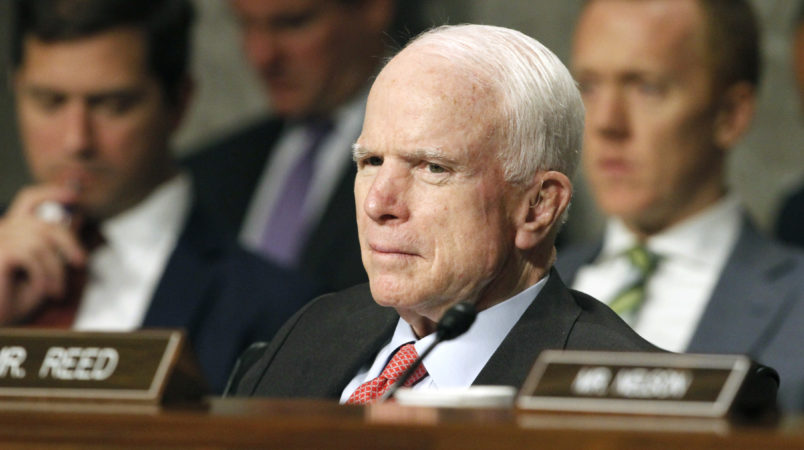 Senate Armed Services Committee Chairman Sen. John McCain, R-Ariz. listens on Capitol Hill in Washington, Tuesday, July 11, 2017, during the committee's confirmation hearing for Nay Secretary nominee Richard Spencer.  (AP Photo/Jacquelyn Martin)