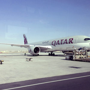 A parked Qatari plane in Hamad International Airport (HIA) in Doha, Qatar, Tuesday, June 6, 2017. Qatar's foreign minister says Kuwait is trying to mediate a diplomatic crisis in which Arab countries have cut diplomatic ties and moved to isolate his energy-rich, travel-hub nation from the outside world. Airlines suspended flights and residents cleaned out store shelves. Bahrain, Egypt, Saudi Arabia and the United Arab Emirates said Monday they would cut diplomatic ties. (AP Photo/Hadi Mizban)