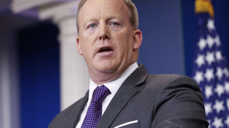 White House press secretary Sean Spicer speaks to members of the media in the Brady Briefing room of the White House in Washington, Monday, July 17, 2017, in Washington. (AP Photo/Pablo Martinez Monsivais)