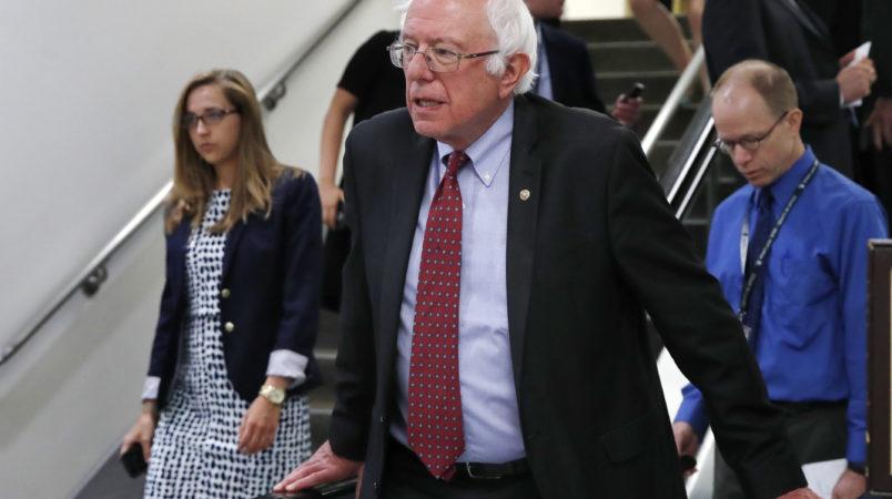 Sen. Bernie Sanders, I-Vt., rides an escalator on Capitol Hill, Tuesday, July 11, 2017. (AP Photo/Jacquelyn Martin)