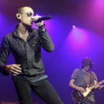 Chester Bennington, left, and Dean DeLeo of the band Stone Temple Pilots perform in concert during the MMRBQ Music Festival 2015 at the Susquehanna Bank Center on Saturday, May 16, 2015, in Camden, N.J. (Photo by Owen Sweeney/Invision/AP)