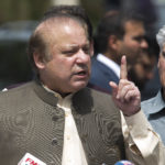 In this Thursday, June 15, 2017 photo, Pakistani Prime Minister Nawaz Sharif speaks to reporters outside the premises of the Joint Investigation Team, in Islamabad, Pakistan. Pakistan's Supreme Court in a unanimous decision has asked the country's anti-corruption body to file corruption charges against Prime Minister Nawaz Sharif, his two sons and daughter for concealing their assets. (AP Photo/B.K. Bangash)