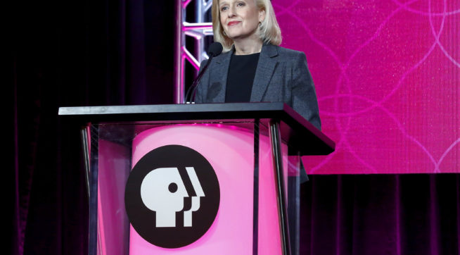 President and CEO Paula Kerger speaks at the PBS's Executive Session at the 2017 Television Critics Association press tour on Sunday, Jan. 15, 2017, in Pasadena, Calif. (Photo by Willy Sanjuan/Invision/AP)