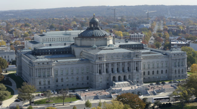 A view of the Library of Congress from the top of the Capitol in Washington, Tuesday, Nov. 15, 2016.  (AP Photo/Susan Walsh)