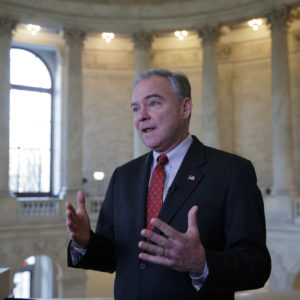 """Sen. Tim Kaine, a Virginia Democrat, responds to questions about the poison gas attacks and ongoing """"war crimes"""" in Syria, during a television news interview on Capitol Hill in Washington, Wednesday, April 5, 2017. Kaine blasted blasted President Donald Trump for relying on his criticism of former President Obama's approach to Syria now that he's in charge, adding, """"He's got to put on his big boy pants and own up to the job.""""   (AP Photo/J. Scott Applewhite)"""