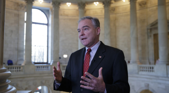"Sen. Tim Kaine, a Virginia Democrat, responds to questions about the poison gas attacks and ongoing ""war crimes"" in Syria, during a television news interview on Capitol Hill in Washington, Wednesday, April 5, 2017. Kaine blasted blasted President Donald Trump for relying on his criticism of former President Obama's approach to Syria now that he's in charge, adding, ""He's got to put on his big boy pants and own up to the job.""   (AP Photo/J. Scott Applewhite)"