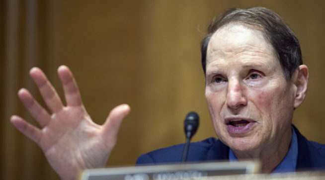 Senate Finance Committee Ranking Member Ron Wyden of Ore., questions IRS Commissioner John Koskinen about President Donald Trump's tax returns, on Capitol Hill in Washington, Thursday, April 6, 2017. (AP Photo/Cliff Owen)