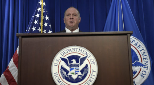 U.S. Immigration and Customs Enforcement acting director Thomas Homan speaks during a news conference in Washington, Thursday, May 11, 2017, to announce the results of a national operation targeting gang members and associates. (AP Photo/Susan Walsh)