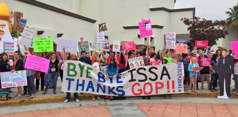 While a large audience waited to enter into an auditorium to hear Republican Rep. Darrell Issa speak at a town hall, counter-protesters lined the front of San Juan Hills High School on Saturday, June 3. (Photo by Matt Masin, Orange County Register/SCNG)