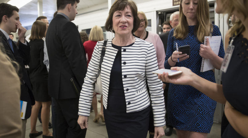 Sen. Susan Collins, R-Maine, heads to a caucus meeting with the leadership struggling with senators, like Collins, who are opposed or wavering on the Republican health care bill, at the Capitol in Washington, Tuesday, June 27, 2017. In a bruising setback, Senate Republican leaders decided to delay a vote on their prized health care bill until after the July 4 recess, forced to retreat by a GOP rebellion that left them lacking enough votes to even begin debating the legislation. (AP Photo/J. Scott Applewhite)