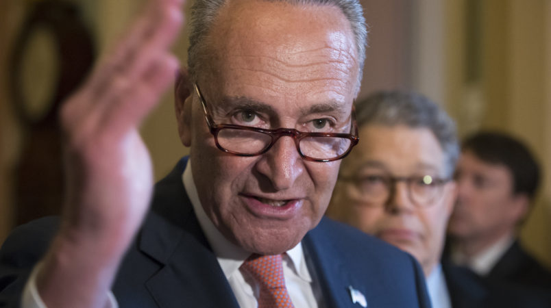 Senate Minority Leader Chuck Schumer, D-N.Y., joined at right by Sen. Al Franken, D-Minn., criticizes the Republican health care bill during a news conference on Capitol Hill in Washington, Tuesday, July 11, 2017. Senate Majority Leader Mitch McConnell, R-Ky., said he will unveil their revised health care bill Thursday and begin voting on it next week.  (AP Photo/J. Scott Applewhite)