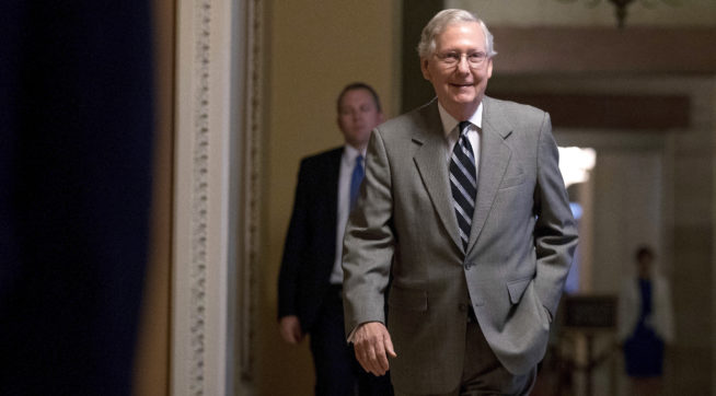 Senate Majority Leader Mitch McConnell of Ky. walks into the Senate Chamber at the Capitol Building, Thursday, July 20, 2017, in Washington. (AP Photo/Andrew Harnik)