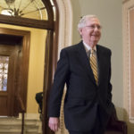 Senate Majority Leader Mitch McConnell, R-Ky., walks from the chamber as he steers the Senate toward a crucial vote on the Republican health care bill, in Washington, Tuesday, July 25, 2017.  (AP Photo/J. Scott Applewhite)