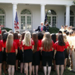 President Donald Trump speaks during an event with the American Legion Boys Nation and the American Legion Auxiliary Girls Nation, in the Rose Garden of the White House, Wednesday, July 26, 2017, in Washington. (AP Photo/Alex Brandon)