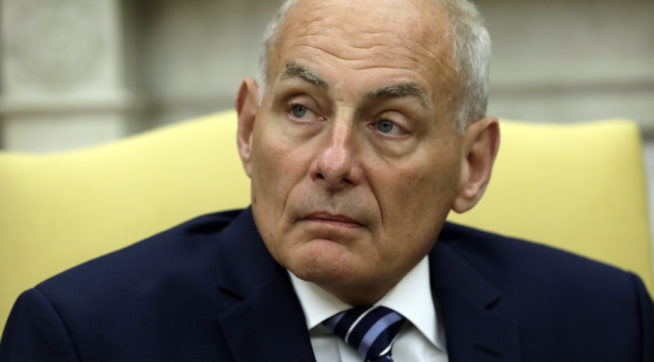 New White House Chief of Staff John Kelly is sworn in during a ceremony in the Oval Office with President Donald Trump, Monday, July 31, 2017, in Washington. (AP Photo/Evan Vucci)