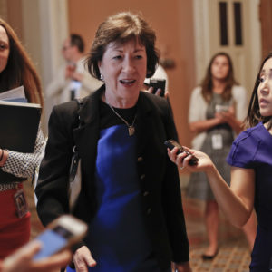 Sen. Susan Collins, R-Maine walks the hallways on Capitol Hill in Washington Thursday, July 13, 2017. Senate Majority Leader Mitch McConnell of Ky., rolls out the GOP's revised health care bill, pushing toward a showdown vote next week with opposition within the Republican ranks. (AP Photo/Pablo Martinez Monsivais)