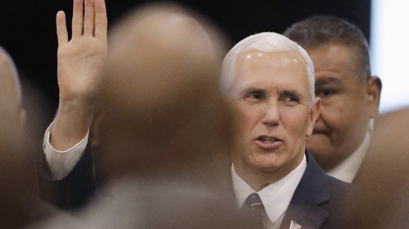 Vice President Mike Pence waves as he arrives for the Indianapolis Ten Point Coalition luncheon Friday, Aug. 11, 2017, in Indianapolis. Pence is the keynote speaker at the luncheon. (AP Photo/Darron Cummings)