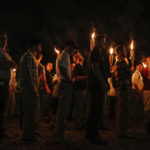 """Multiple white nationalist groups march with torches through the UVA campus in Charlottesville on Friday, August 11, 2017. When met by counter protesters, some yelling """"Black lives matter,"""" tempers turned into violence. Multiple punches were thrown, pepper spray was sprayed and torches were used as weapons. Mandatory Credit: Mykal McEldowney/IndyStar via USA TODAY NETWORK"""