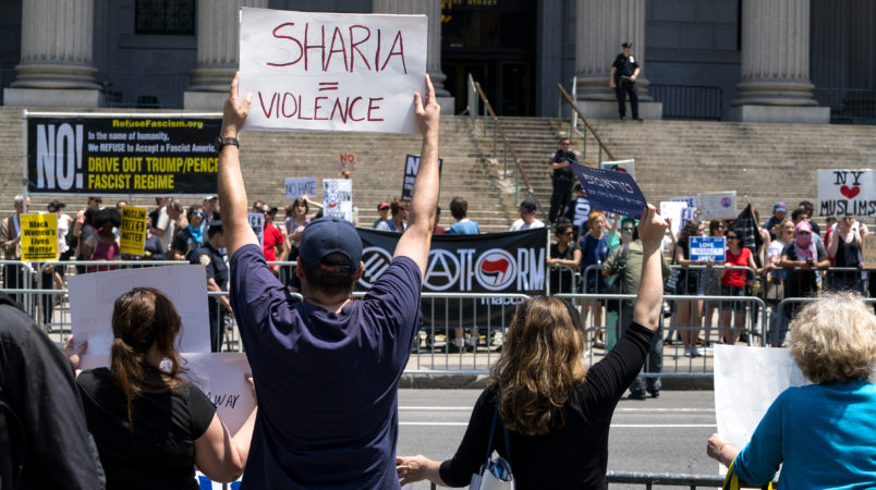 Demonstrators gathered to protest against Islamic law, foreground, stand across from counter demonstrators Saturday, June 10, 2017, in New York. In more than two dozen cities across the United States, the group organizing the rallies, ACT for America, is speaking out against Shariah law, saying it is incompatible with Western democracy and the freedoms it affords. (AP Photo/Craig Ruttle)