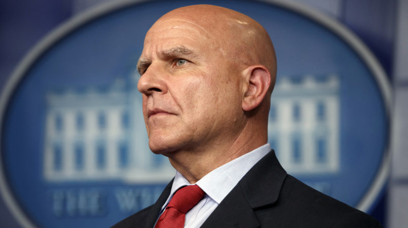 National security adviser H.R. Mc Master listens during the daily press briefing at the White House Monday