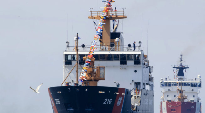 USCGC Alder makes its way through the Grand River channel with USCGC Mackinaw not far behind for Coast Guard Festival on Monday, July 31, 2017 in Grand Haven, Mich. (Kaytie Boomer | MLive.com) (Kaytie Boomer | MLive.com)