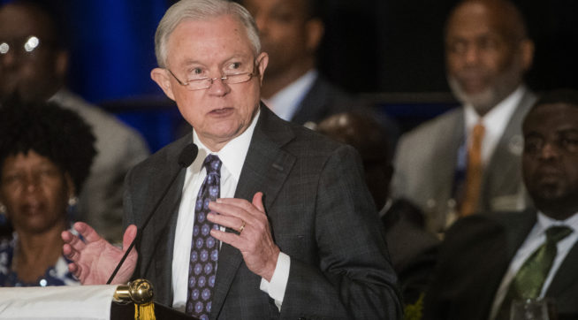 Attorney General Jeff Sessions addresses the National Organization of Black Law Enforcement Executives during a  conference Tuesday