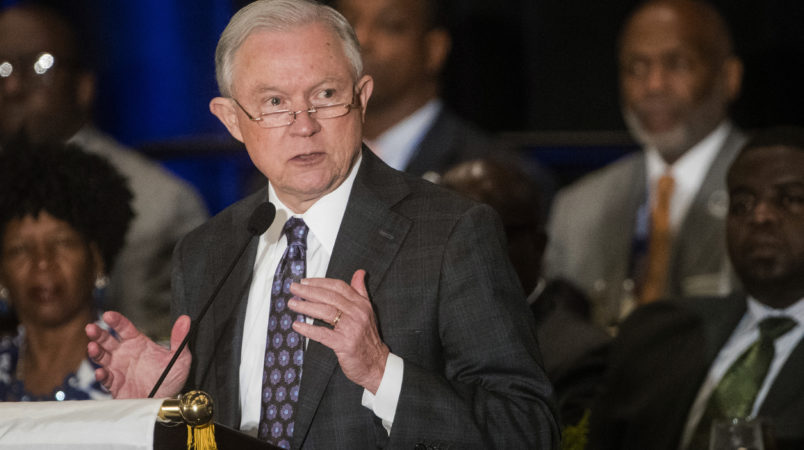"""Attorney General Jeff Sessions addresses the National Organization of Black Law Enforcement Executives during a    conference, Tuesday, August 1, 2017, in Atlanta. President Trump recently used a speech before law enforcement to encourage them to be """"rough"""" on suspects. (John Amis/Special)"""