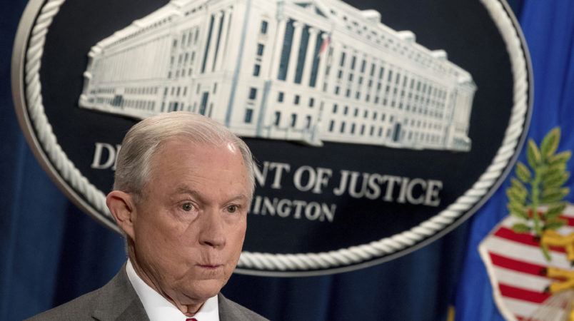 Attorney General Jeff Sessions attends a news conference at the Justice Department in Washington, Friday, Aug. 4, 2017, on leaks of classified material threatening national security. (AP Andrew Harnik)