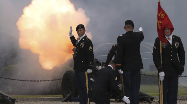 U.S. soldiers fire a salute during a change of command and change of responsibility ceremony for Deputy Commander of the South Korea-U.S. Combined Force Command at Yongsan Garrison, a U.S. military base, in Seoul, South Korea, Friday, Aug. 11, 2017. (AP Photo/Lee Jin-man)