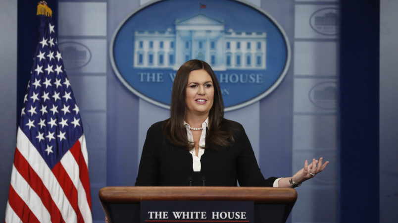 White House press secretary Sarah Huckabee Sanders speaks during the daily news briefing at the White House, in Washington, Thursday, Aug. 24, 2017. (AP Photo/Carolyn Kaster)