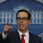 Treasury Secretary Steven Mnuchin speaks during the news briefing at the White House, in Washington, Friday, Aug. 25, 2017. (AP Photo/Carolyn Kaster)