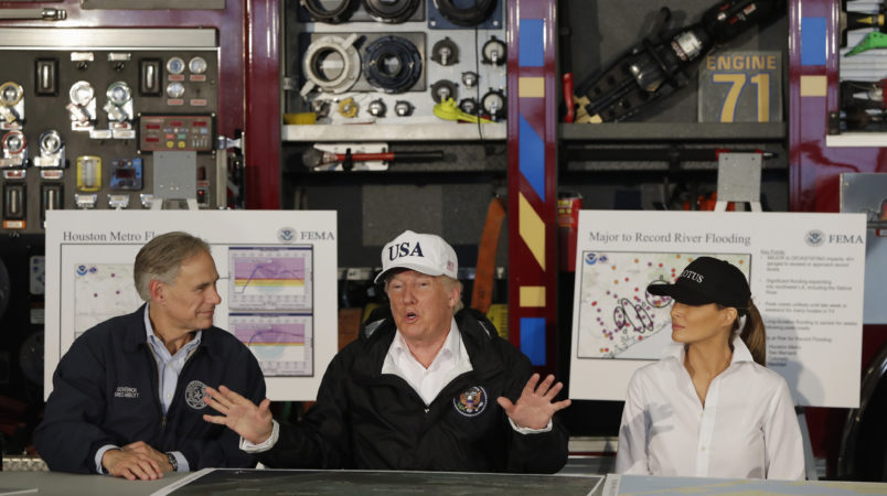President Donald Trump and first lady Melania Trump arrive take part in a briefing on Hurricane Harvey relief efforts at Firehouse 5, Tuesday, August 29, 2017, in Corpus Christi, Texas. (AP Photo/Evan Vucci)