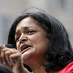 Sen. Pramila Jayapal, D-Seattle, speaks at a rally for Democratic presidential candidate Sen. Bernie Sanders, I-Vt., Saturday, Aug. 8, 2015, in downtown Seattle. (AP Photo/Elaine Thompson)