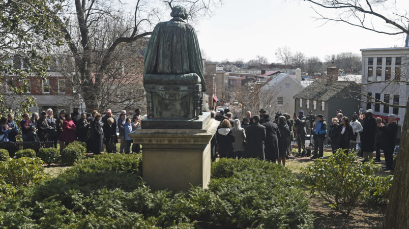 Annapolis, Md.--3/6/17-- On the 160th anniversary of the Dred Scott decision by U.S. Supreme Court Chief Justice Roger Taney, descendants of Scott and Taney come together at the Taney statue in front of the Maryland State House to reconfirm their reconciliation with apology and forgiveness to each others.Kenneth K. Lam/The Baltimore Sun {fabs} md-scott-taney-reconciliation Lam...Baltimore Sun Media Group Photo. No Mags, No Sales, No Inernet, No TV, No Digital Manipulation, Baltimore Out...