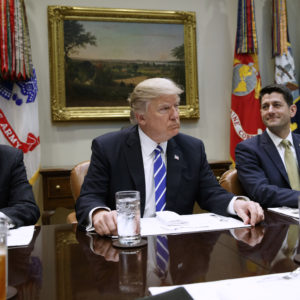 President Donald Trump hosts a meeting with House and Senate leadership in the Roosevelt Room of the White House, Wednesday, March 1, 2017, in Washington. From left, Senate Majority Leader Mitch McConnell, R-Ky., Trump, and Speaker of the House Paul Ryan, R-Wis. (AP Photo/Evan Vucci)