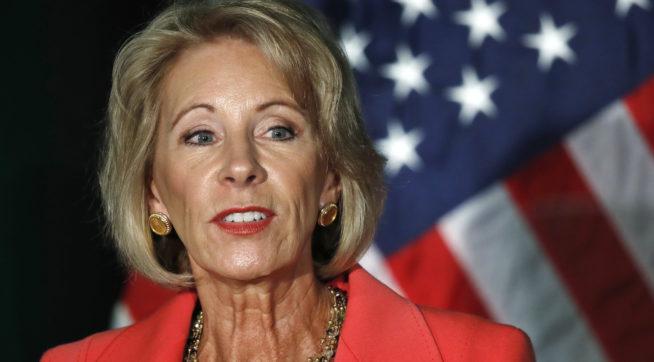 Education Secretary Betsy DeVos speaks about proposed changes to Title IX, Thursday, Sept. 7, 2017, at George Mason University Arlington, Va., campus. (AP Photo/Jacquelyn Martin)