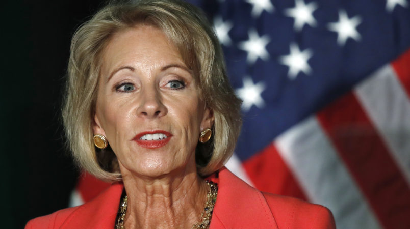Education Secretary Betsy DeVos speaks about proposed changes to Title IX, Thursday, Sept. 7, 2017, at George Mason University Arlington, Va., campus. (AP Photo/Jacquelyn Martin)