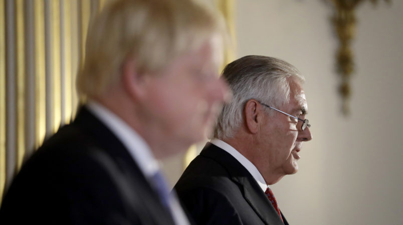 Britain's Foreign Secretary Boris Johnson and U.S. Secretary of State Rex Tillerson hold a press conference after their meeting on Libya at Lancaster House in London, Thursday, Sept. 14, 2017. (AP Photo/Matt Dunham, Pool)