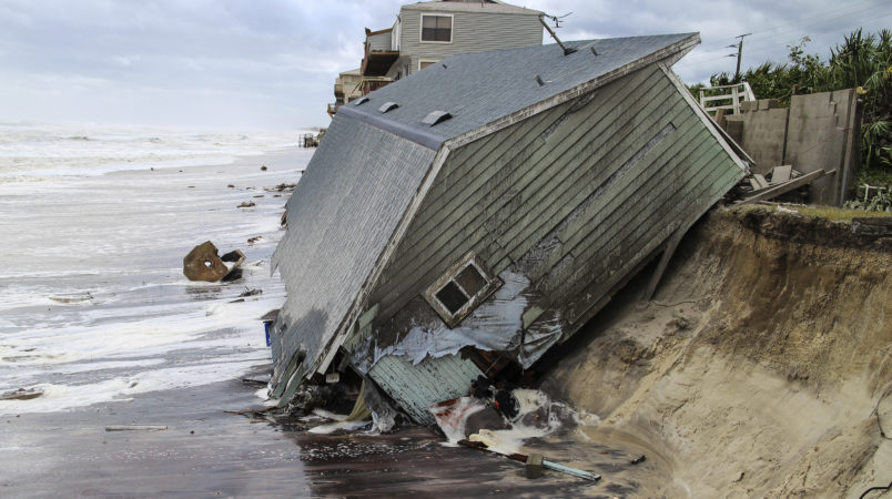 House slid into the Atlantic Ocean due to Hurricane Irma, 4000 block of South Ponte Vedra Blvd. in Ponte Vedra Beach, Fla., Monday, Sept. 11, 2017. (For The Florida Times-Union, Gary Lloyd McCullough)
