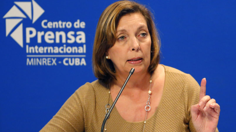 Josefina Vidal, Cuba's director-general of U.S. affairs, speaks to reporters in Havana, Cuba, Thursday, Jan. 12, 2017, after President Barack Obama announced he is ending the immigration policy that allows any Cuban who makes it to U.S. soil to stay and become a legal resident. The Cuban government praised the move. (AP Photo/Desmond Boylan)