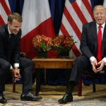 President Donald Trump jokes with French President Emmanuel Macron during a meeting at the Palace Hotel during the United Nations General Assembly, Monday, Sept. 18, 2017, in New York. (AP Photo/Evan Vucci)