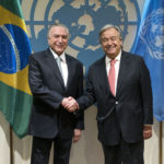 Brazil's President Michel Temer, left, is greeted by United Nations Secretary-General Antonio Guterres before a meeting Tuesday, Sept. 19, 2017, at U.N. headquarters. (AP Photo/Craig Ruttle)