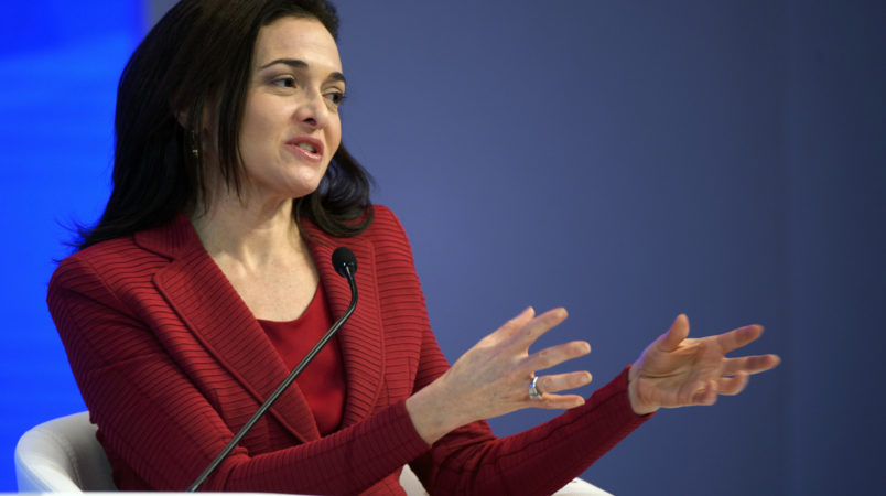 Chief Operating Officer of Facebook, Sheryl Sandberg speaks during a plenary session in the Congress Hall during the 47th annual meeting of the World Economic Forum, WEF, in Davos, Switzerland, Wednesday, January 18, 2017. The meeting brings together enterpreneurs, scientists, chief executive and political leaders in Davos January 17 to 20.(KEYSTONE/Laurent Gillieron)