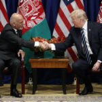 President Donald Trump shakes hands with Afghan President Ashraf Ghani at the Palace Hotel during the United Nations General Assembly, Thursday, Sept. 21, 2017, in New York. (AP Photo/Evan Vucci)
