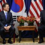 President Donald Trump speaks at a meeting with South Korean President Moon Jae-in at the Palace Hotel during the United Nations General Assembly, Thursday, Sept. 21, 2017, in New York. (AP Photo/Evan Vucci)