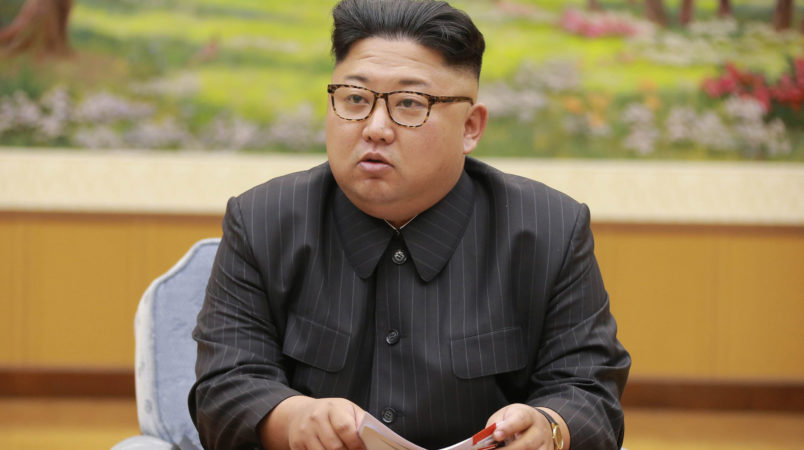 """In this Sept. 3, 2017, image distributed on Monday, Sept. 4, 2017, by the North Korean government, North Korea's leader Kim Jong Un holds a meeting of the ruling party's presidium. North Korea claimed a """"perfect success"""" for its most powerful nuclear test so far, a further step in the development of weapons capable of striking anywhere in the United States. Independent journalists were not given access to cover the event depicted in this image distributed by the North Korean government. The content of this image is as provided and cannot be independently verified. (Korean Central News Agency/Korea News Service via AP)"""