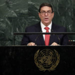 Foreign Minister Bruno Rodríguez Parrilla of Cuba addresses the United Nations General Assembly, at U.N. headquarters, Friday, Sept. 22, 2017. (AP Photo/Richard Drew)