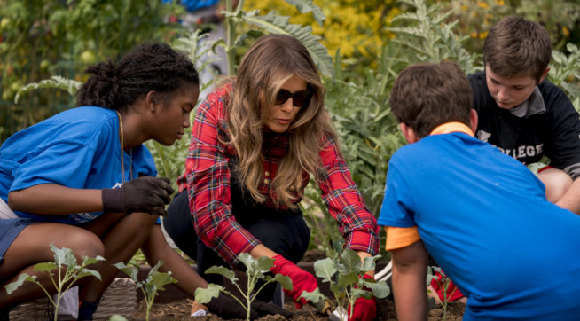 Melania joins children in planting, harvesting White House gardens